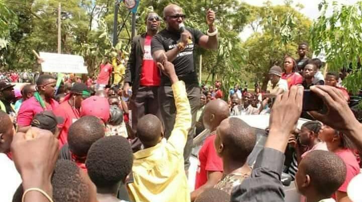 Timothy Mtambo addressing demonstrators