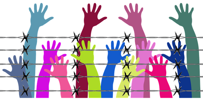 Drawing of different hands behind a barbed wire fence