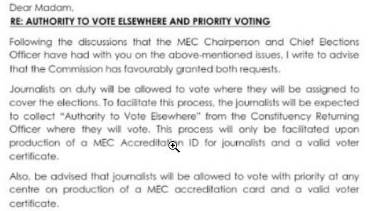 Malawi Electoral Commission response on journalists' voting
