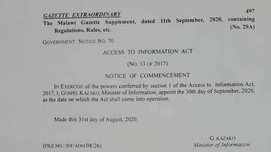 MISA Malawi applauds Government on operationalization of ATI Act